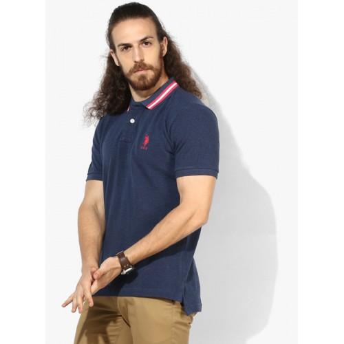 U.S. Polo Assn. Navy Blue Solid Regular Fit Polo T-Shirt