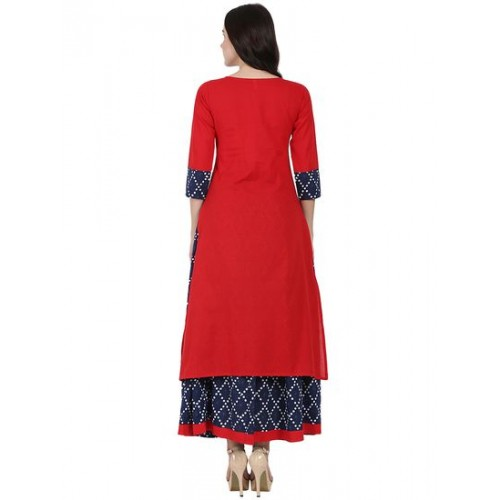 NAYO red cotton kurta skirt set