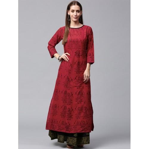0dd0d5a8b20 Buy NAYO red cotton kurta palazzo set online