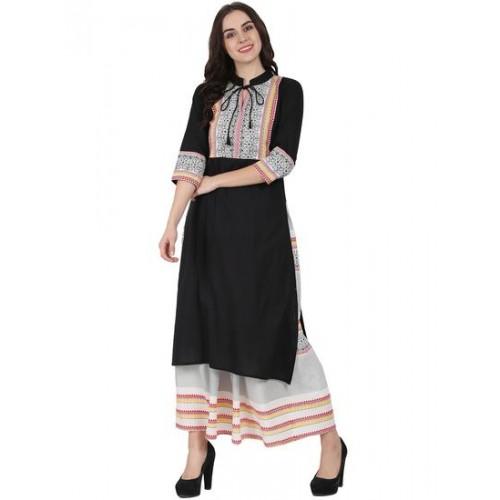 NAYO black cotton kurta skirt set