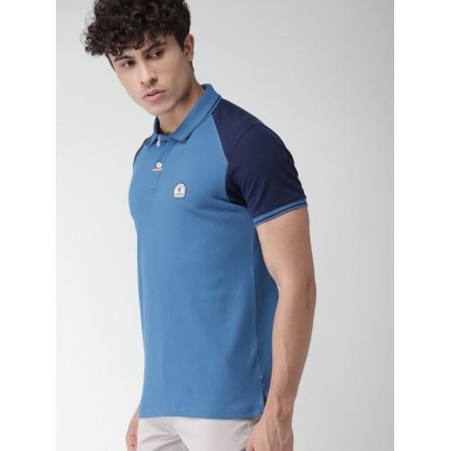 Harvard Men Blue Solid Polo Collar T-shirt