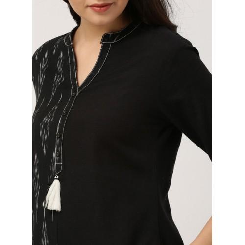 IMARA Women Black Woven Design A-Line Kurta