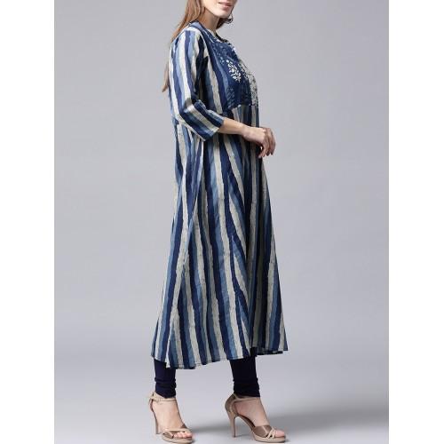 NAYO blue cotton aline kurta