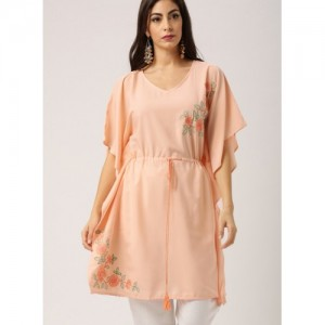 all about you Women Pink Polyester Embroidered Kaftan Kurta