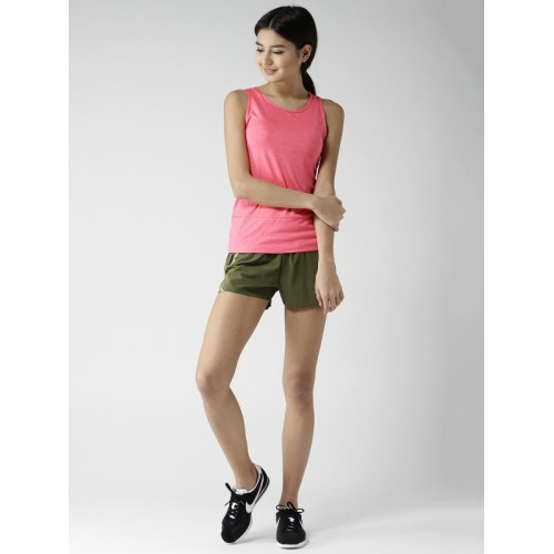 Nike Women Olive Green Aeroswift Solid Sports Shorts