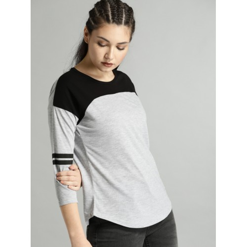 Roadster Grey Solid T Shirt