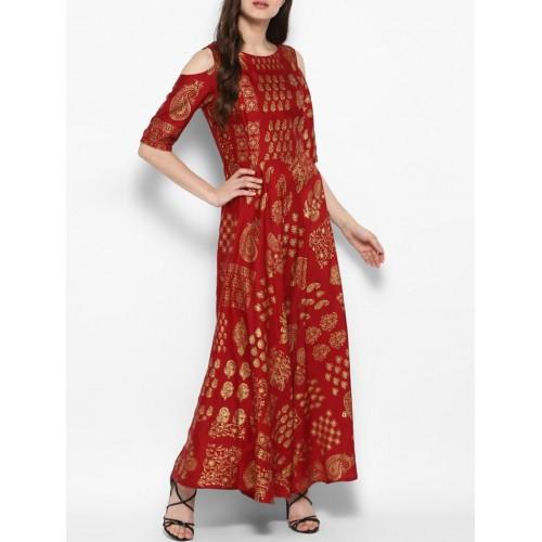 JUNIPER Maroon cold sleeves silk blend flared kurta