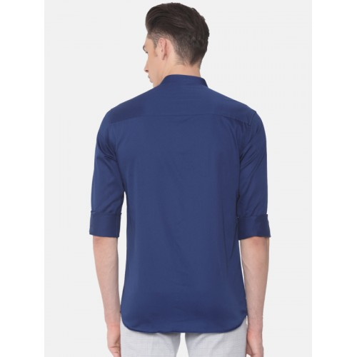 Independence Club Men Blue Slim Fit Solid Casual Shirt