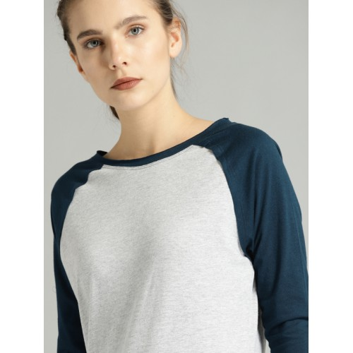 Roadster Time Travlr Women Grey Solid Round Neck T-shirt