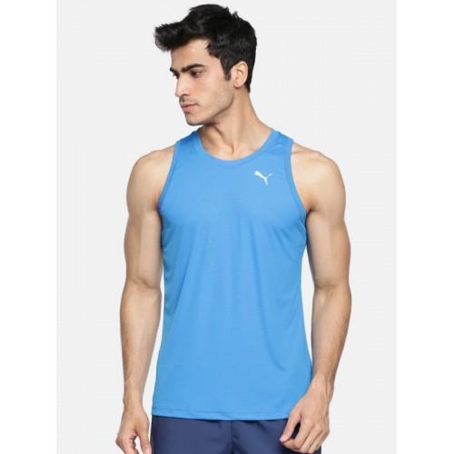 dad9df92406 Buy Puma Men Blue Checked Core-Run Singlet Sleeveless T-shirt online ...