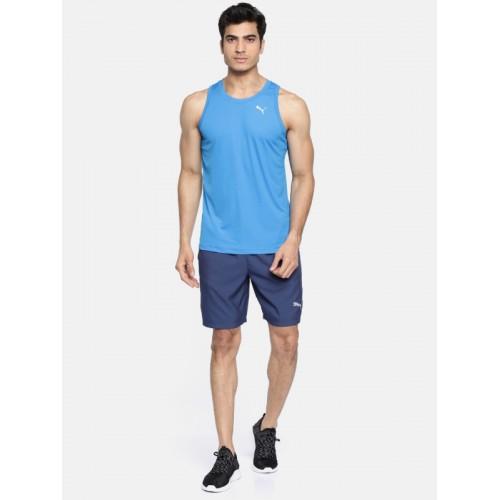 Puma Men Blue Checked Core-Run Singlet Sleeveless T-shirt