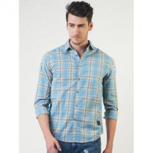 Blue Saint Men Blue Smart Slim Fit Checked Casual Shirt