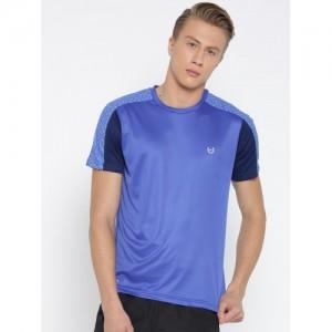 Monte Carlo Men Blue Solid Round Neck T-shirt