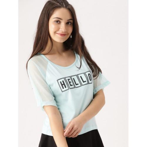 DressBerry  Blue Printed Round Neck T-shirt