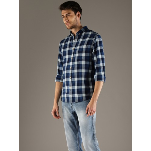 Flying Machine Men Blue Slim Fit Checked Casual Shirt