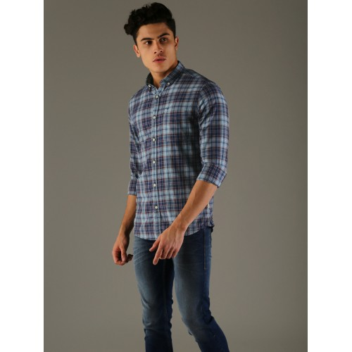Flying Machine Men Blue Comfort Slim Fit Checked Casual Shirt