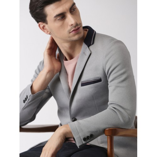 INVICTUS Grey Slim Fit Single-Breasted Casual Blazer