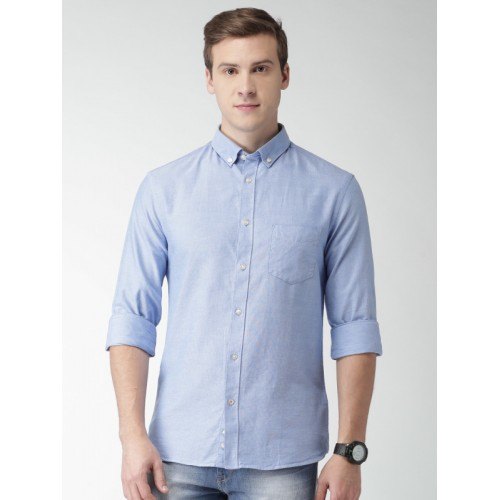 Celio Men Blue Slim Fit Solid Casual Shirt