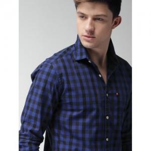 Harvard Men Blue & Black Slim Fit Checked Casual Shirt