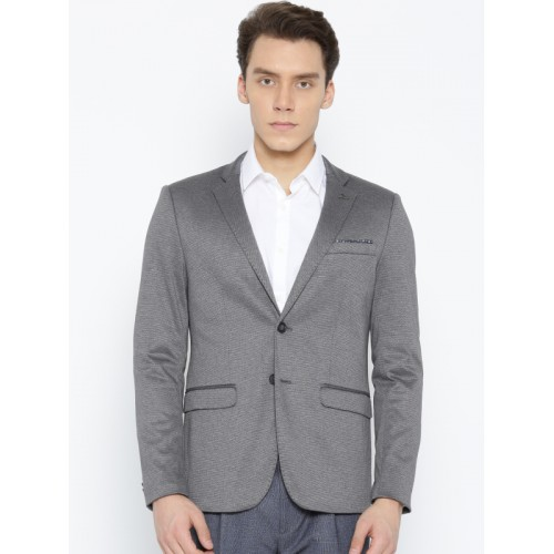 Arrow New York Grey Self-Design Zero Calorie Fit Single-Breasted Formal Blazer