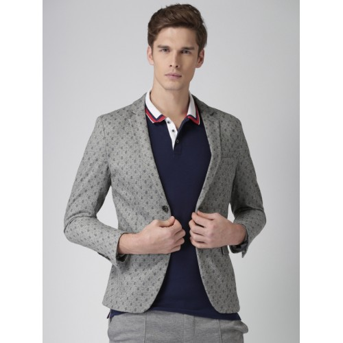 ac37b052ad9c ... INVICTUS Men Grey Printed Slim Fit Single-Breasted Casual Blazer ...