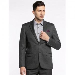 Arrow Charcoal Grey Self-Design Single-Breasted Tailored Fit Formal Blazer
