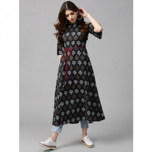 GERUA Black Printed Cold Shoulder A-Line Kurta