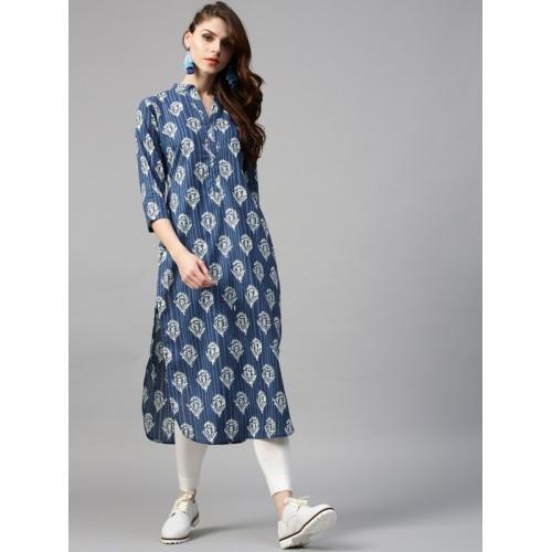 GERUA Women Blue & Off-White Printed Straight Kurta