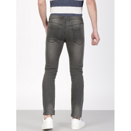 ether Men Grey Skinny Fit Mid-Rise Clean Look Stretchable Jeans