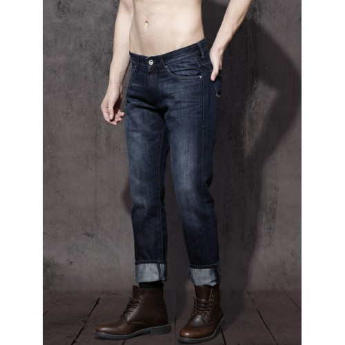 Roadster Men Navy Blue Cropped Slim Tapered Fit Mid-Rise Clean Look Jeans