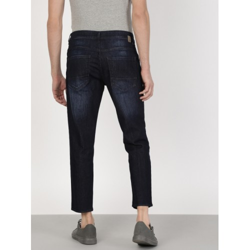 ether Men Navy Blue Skinny Fit Mid-Rise Clean Look Stretchable Cropped Jeans