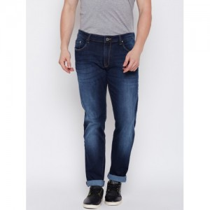 Solly Jeans Co. by Allen Solly Men Navy Blue Super Skinny Fit Mid-Rise Low Distress Stretchable Jeans