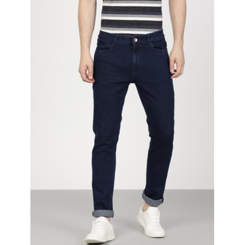 ether Men Navy Blue Slim Fit Mid-Rise Clean Look Stretchable Jeans