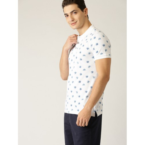 United Colors of Benetton white Printed Regular Fit Polo T-Shirt