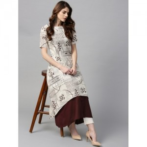 GERUA Off-White & Brown Printed Layered A-Line Kurta