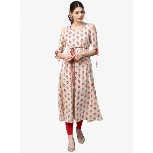 GERUA Women Off-White & Red Printed Empire A-Line Kurta