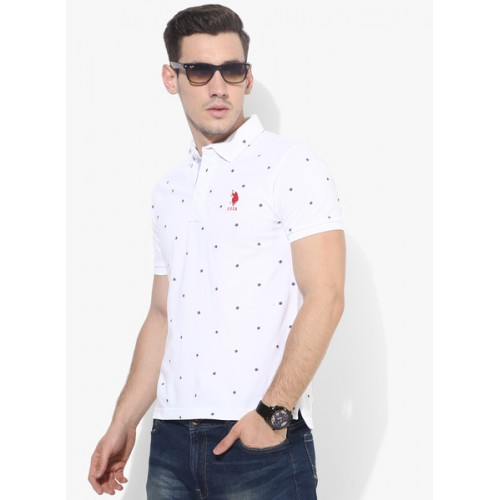 U.S. Polo Assn. White Embroidered Regular Fit Polo T-Shirt