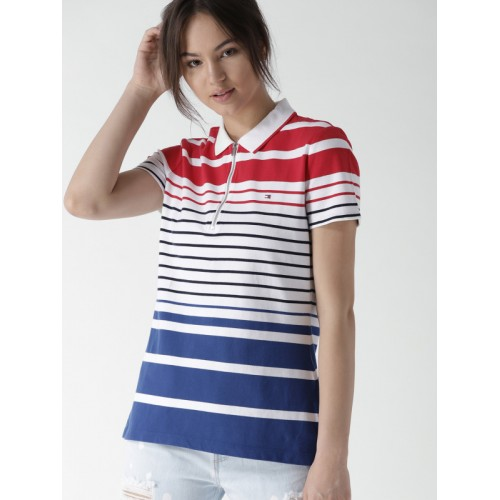 1cc71ae65 ... Tommy Hilfiger Women White & Blue Striped Polo Collar T-shirt ...