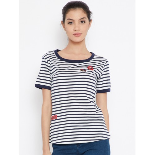 78742f39 ... Wrangler Women White & Navy Blue Striped Round Neck T-shirt ...