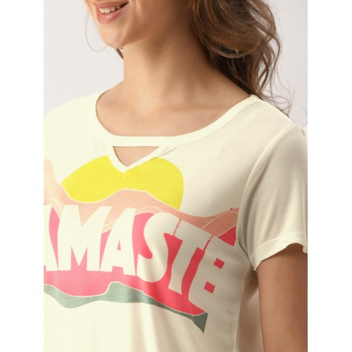 DressBerry Women Off-White Printed Round Neck T-shirt