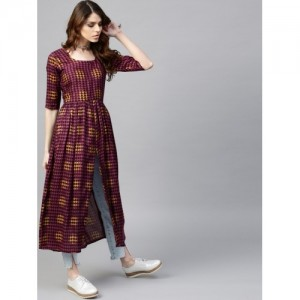 GERUA Purple Rayon Printed Kurta with Front Slit