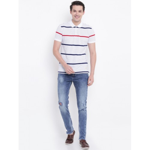 United Colors of Benetton White Striped Regular Fit Polo T-Shirt