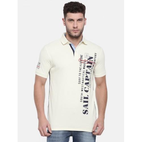 2231ea128 Buy Lee Cooper Men Off-White Printed Polo Collar T-shirt online ...