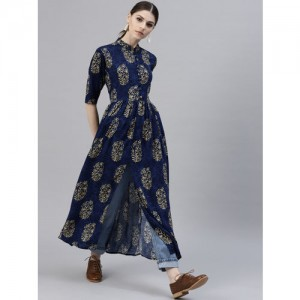 GERUA Navy Blue Printed Kurta With Front Slit