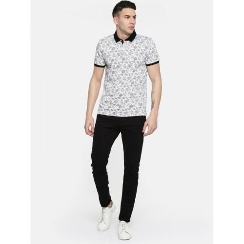 Arrow New York Men White Printed Polo Collar T-shirt