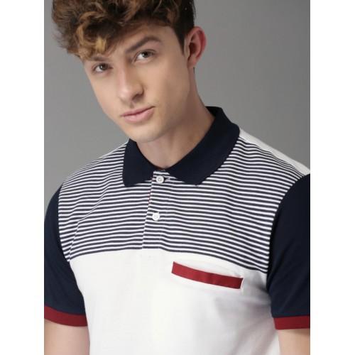 Moda Rapido Men White & Navy Blue Striped Polo Collar T-shirt