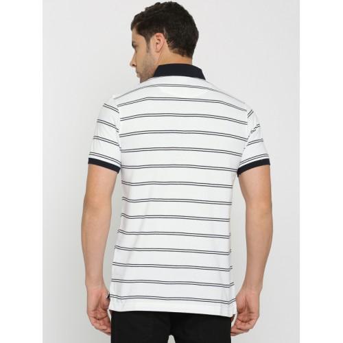 Indian Terrain Men White & Navy Striped Polo Collar T-shirt