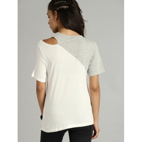 Roadster Time Travlr Women White Round Neck T-shirt