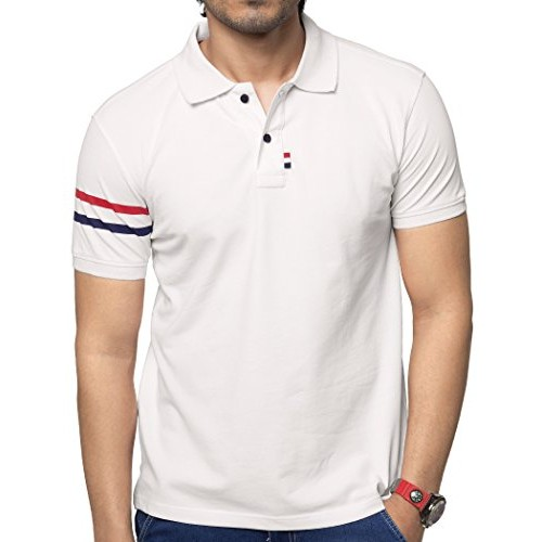 bb7ba4a71 ... Zeyo Classic Polo T Shirts for Men with Collar Stylish Regular Fit  White Half Sleeve ...