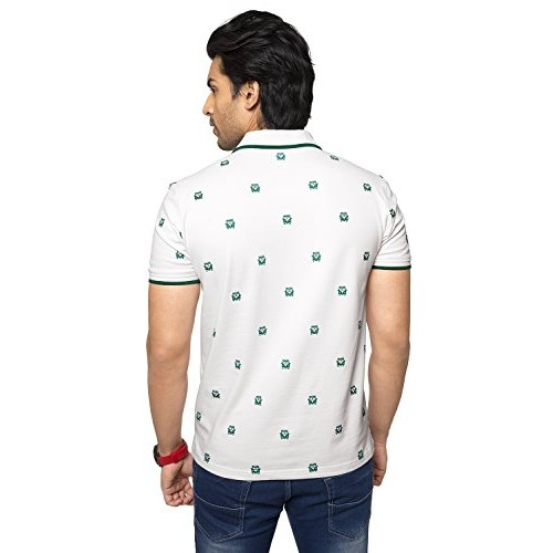 4ebdeabba ... Zeyo Classic Polo T Shirts for Men with Collar Printed Regular Fit  White Half Sleeve ...